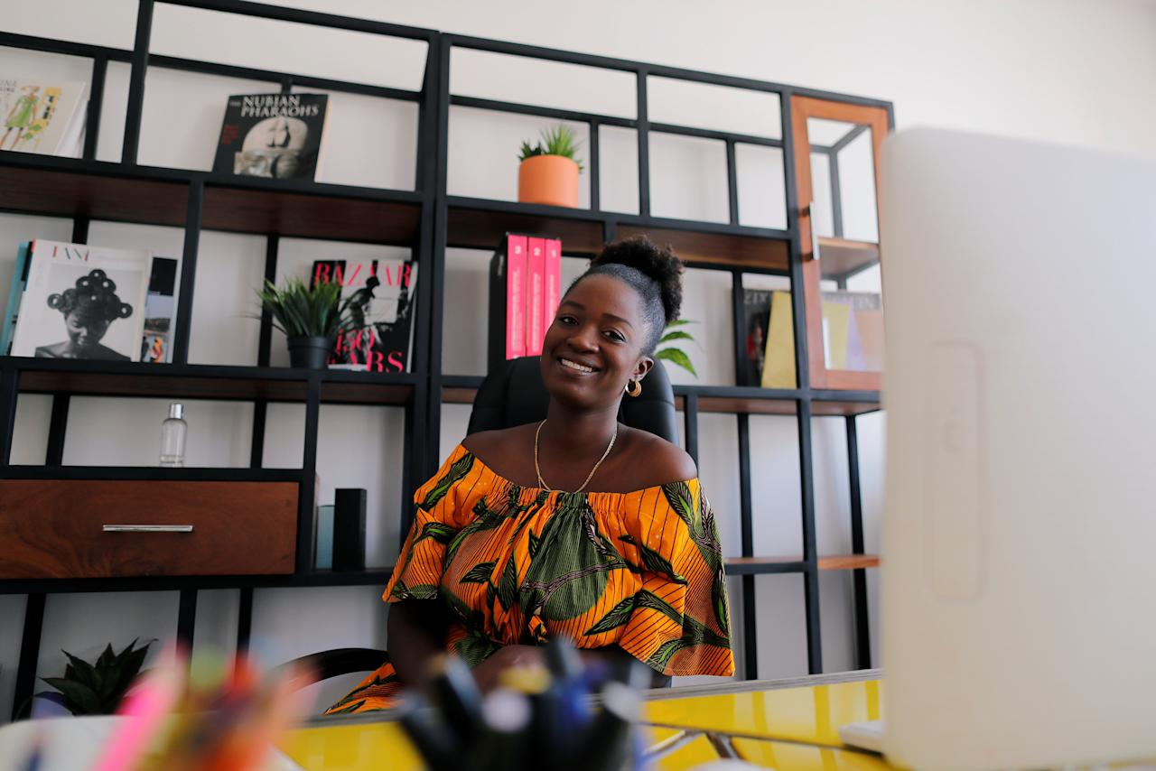 Sophie Zinga, a fashion designer poses for a photograph at her office in Dakar, Senegal February 13, 2019.  Zinga is hoping the next president will do more to empower women, train youths and boost the creative industry to turn Dakar into the fashion hub of West Africa. Picture taken February 13, 2019 REUTERS/ Zohra Bensemra