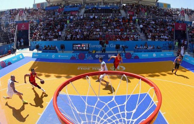 Belgium and Russia compete in the 3×3 Basketball European Championships in Azerbaijan in 2015. (Getty)