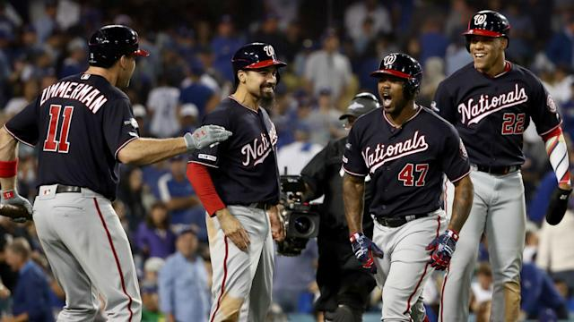 The Washington Nationals used a grand slam in the 10th inning to earn a NLCS date with the St Louis Cardinals.