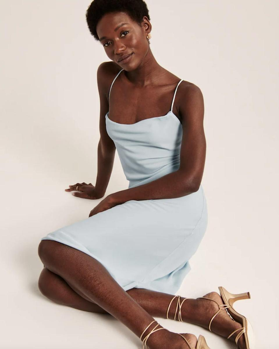 <p>Your evening wardrobe will get a chic upgrade with this <span>Cowlneck Slip Midi Dress</span> ($89).</p>