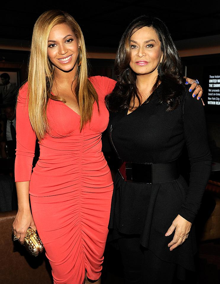 "Of course, Jay-Z's wife Beyonce was also in attendance. The new mama -- pictured here with her own mother, Tina Knowles -- debuted her post-pregnancy bod just weeks after delivering the couple's daughter, Blue Ivy. During the show, the rapper performed the song he wrote for their little girl called ""Glory."" ""I didn't think I was going to make it through that one,"" he said when it was over. ""That was tough."" (2/6/2012)"