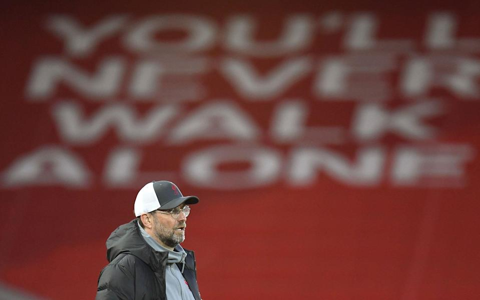 Liverpool manager Juergen Klopp reacts during the UEFA Champions League quarter final, second leg soccer match between Liverpool FC and Real Madrid in Liverpool, Britain, 14 April 2021 - Peter Powell/EPA-EFE/Shutterstock