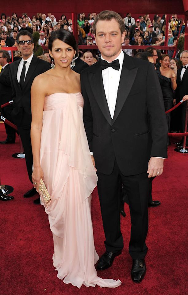 Matt Damon and wife arrive at the 82nd Annual Academy Awards held at Kodak Theatre on March 7, 2010 in Hollywood, California.