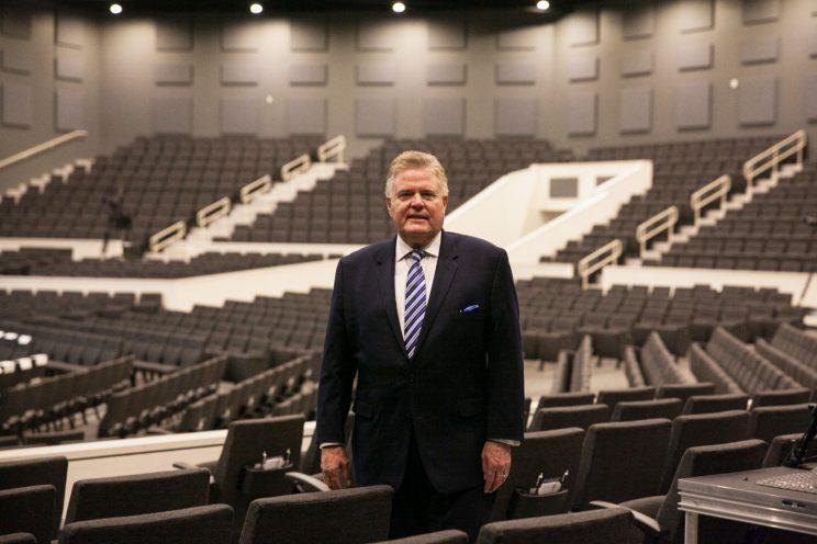 Senior Pastor, Dr. Jim Garlow stands inside Skyline Wesleyan Church that seats 2000 people, located in La Mesa, California, a suburb of San Diego. (Photos above and below: Ariana Drehsler for Yahoo News)