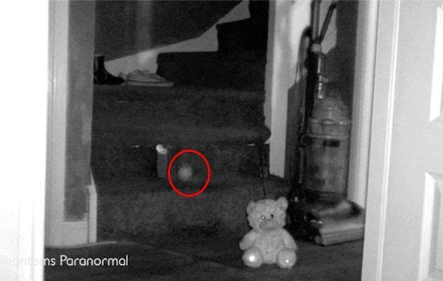 It flies down the staircase, apparently after being pushed by the spirit of a child. Photo: Caters