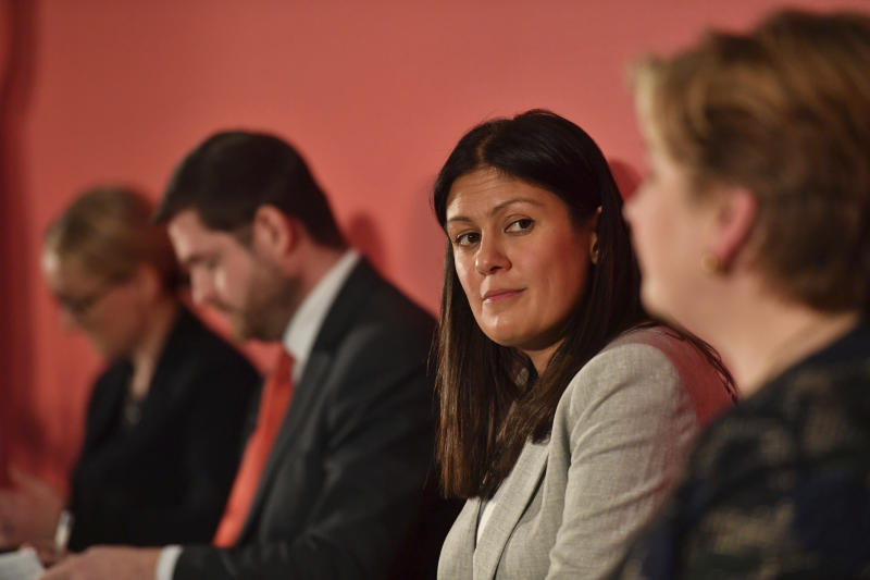 Candidates for leadership of Britain's Labour Party, with from right, Emily Thornberry, Lisa Nandy,  Jim McMahon who is attending in place for candidate Kier Starmer, and Rebecca Long-Bailey, during the Labour leadership hustings in Nottingham, England, Saturday Feb. 8, 2020. (Jacob King/PA via AP)