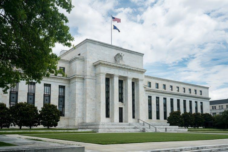 "<span class=""caption"">The US Federal Reserve Board Building.</span> <span class=""attribution""><a class=""link rapid-noclick-resp"" href=""https://www.shutterstock.com/image-photo/marriner-s-eccles-federal-reserve-board-676743697"" rel=""nofollow noopener"" target=""_blank"" data-ylk=""slk:Steve Heap/Shutterstock"">Steve Heap/Shutterstock</a></span>"