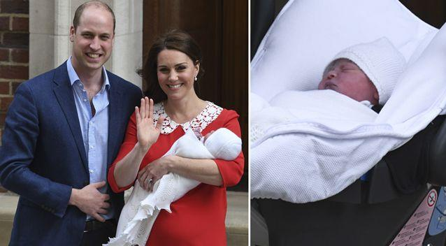The Duke and Duchess of Cambridge stood outside the Lindo Wing with their newborn son. Source: Getty
