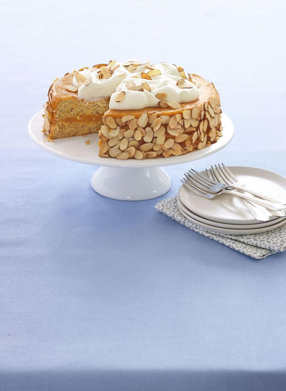 """<p>Use matzo cake meal to make this decadent treat. Seder has never been sweeter!</p><p><em><a href=""""https://www.womansday.com/food-recipes/food-drinks/recipes/a53989/almond-apricot-cake-recipe/"""" rel=""""nofollow noopener"""" target=""""_blank"""" data-ylk=""""slk:Get the recipe from Woman's Day »"""" class=""""link rapid-noclick-resp"""">Get the recipe from Woman's Day »</a></em></p>"""