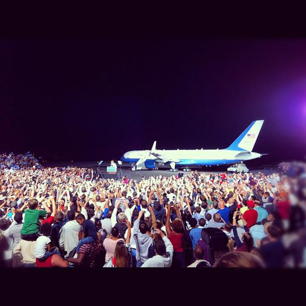 Obama in Cleveland. Nice backdrop - @Chris_Moody, via Twitter