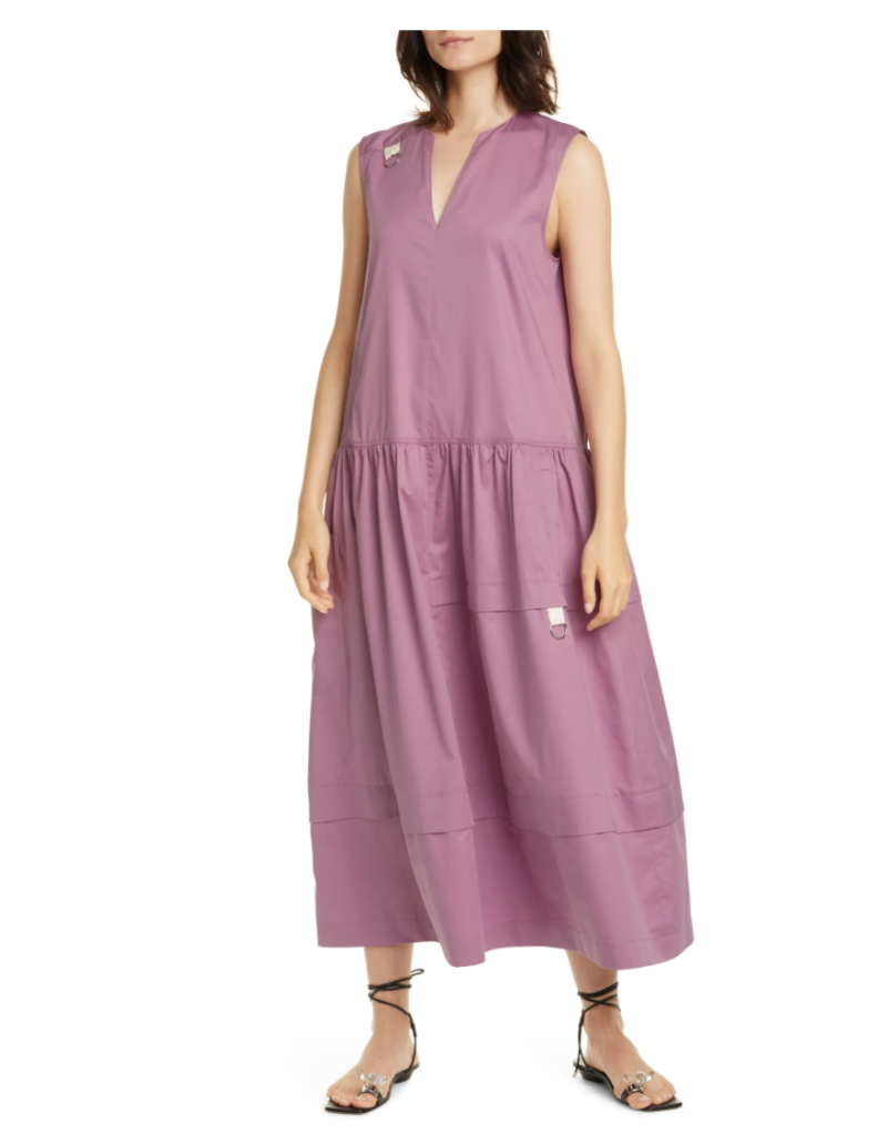 Tibi Split Neck Eco Poplin Midi Dress. Image via Nordstrom.