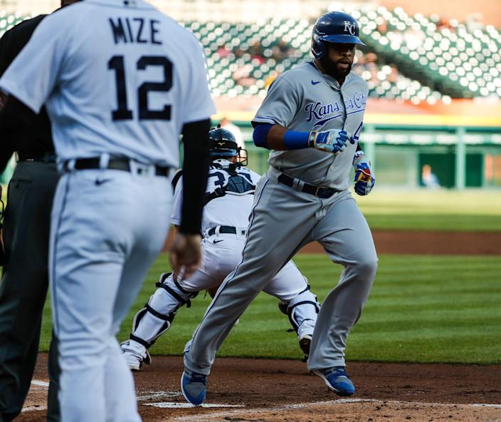 Kansas City Royals first baseman Carlos Santana (41) scores a run against Detroit Tigers during first inning at Comerica Park in Detroit on Wednesday, May 12, 2021.