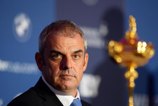 AUCHTERARDER, SCOTLAND - SEPTEMBER 24: European Captain Paul McGinley during the press conference at the Gleneagles Hotel as part of the 2014 Ryder Cup - One Year to Go celebrations on September 24, 2013 in Auchterarder, Scotland. (Photo by Mark Runnacles/Getty Images)