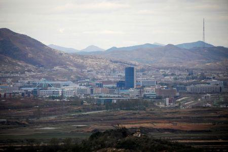FILE PHOTO: The inter-Korean Kaesong Industrial Complex which is still shut down, is seen in this picture taken from the Dora observatory near the demilitarised zone separating the two Koreas, in Paju, South Korea, April 24, 2018. REUTERS/Kim Hong-Ji/File Photo