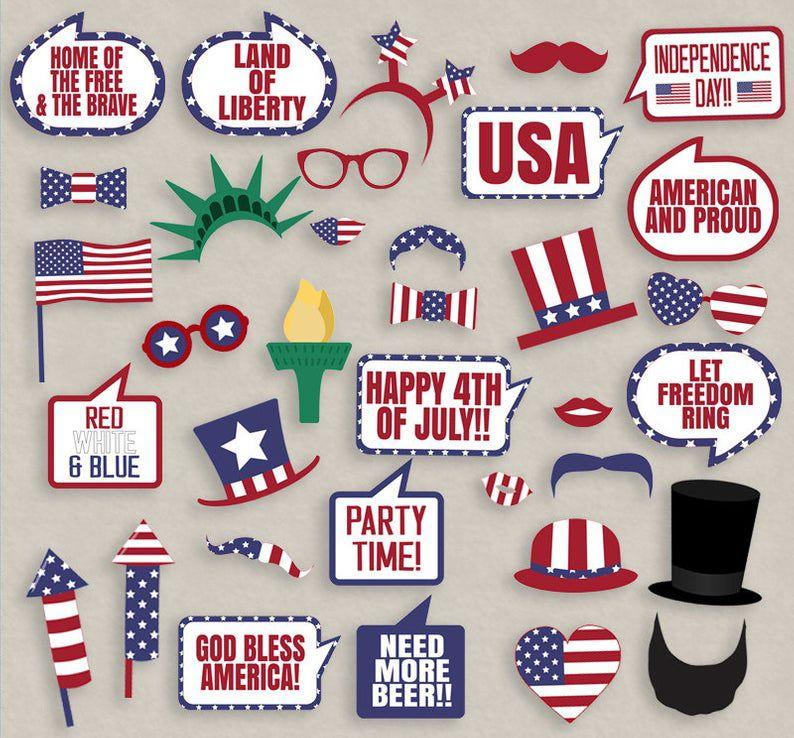 """<p>Don't forget to set up an area with these 4th of July-themed photo props so friends and family can take pictures as the Statue of Liberty.</p><p><em><strong>What you'll need</strong>: <a href=""""https://www.etsy.com/listing/286705441/35-4th-of-july-props-printable-photo?ga_order=most_relevant&ga_search_type=all&ga_view_type=gallery&ga_search_query=4th+july+photo+prop&ref=sr_gallery-1-6&referring_page_type=market"""" target=""""_blank"""">4th of July Photo Props</a> ($7, etsy.com)</em></p>"""