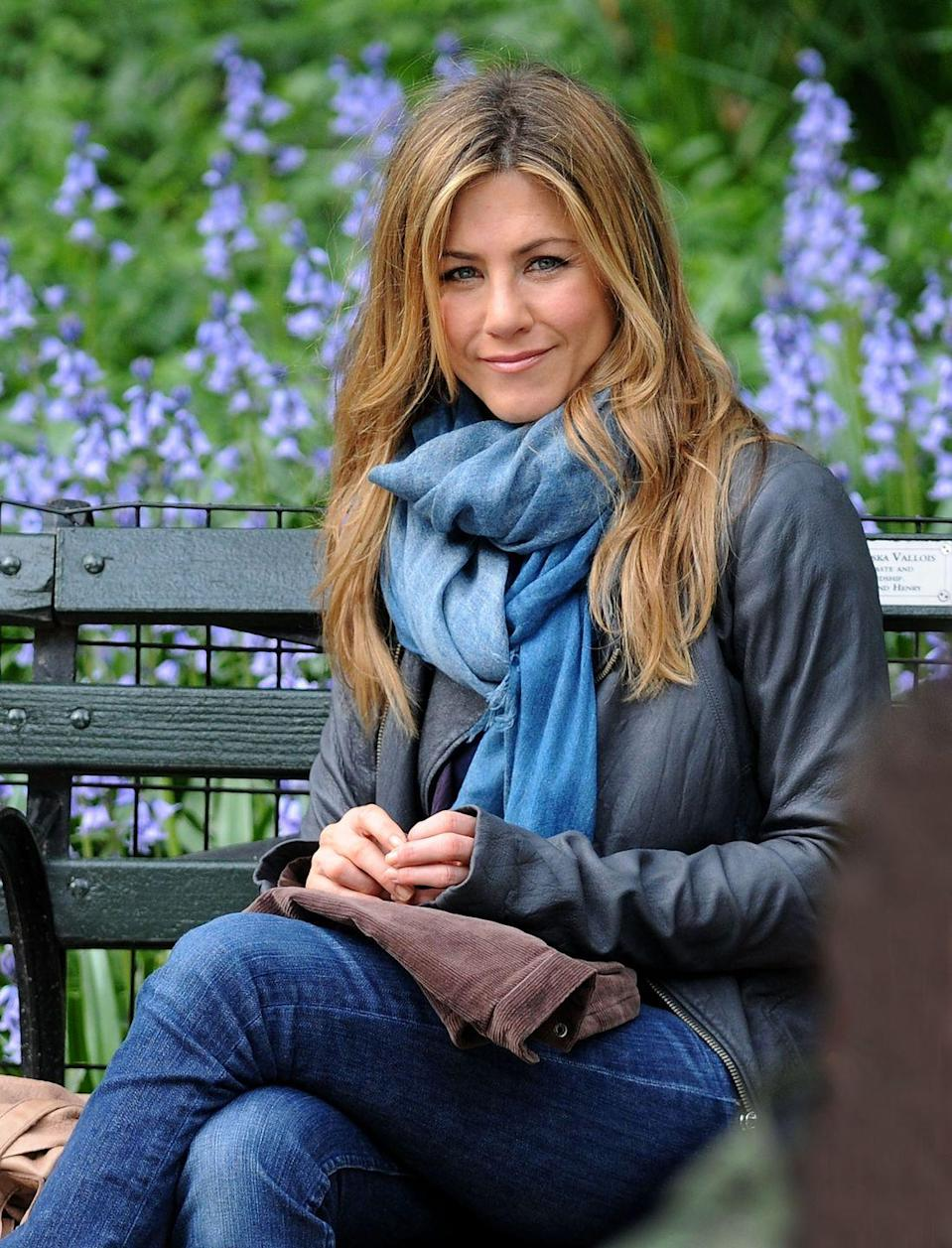 """<p>Jen wore this warm-looking outfit on set for the film <em>The Switch</em>, starring her multiple-time costar Jason Bateman. The film was <a href=""""https://www.vulture.com/2010/02/jennifer_anistons_comedy_the_b.html"""" rel=""""nofollow noopener"""" target=""""_blank"""" data-ylk=""""slk:originally titled"""" class=""""link rapid-noclick-resp"""">originally titled </a><em><a href=""""https://www.vulture.com/2010/02/jennifer_anistons_comedy_the_b.html"""" rel=""""nofollow noopener"""" target=""""_blank"""" data-ylk=""""slk:The Baster"""" class=""""link rapid-noclick-resp"""">The Baster</a></em> because it's about artificial insemination. Thankfully, Disney decided to change the name.<br></p>"""