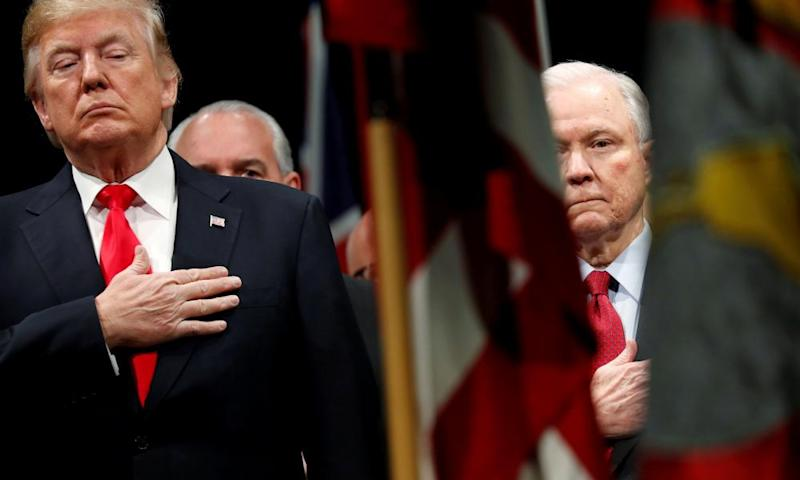 Jeff Sessions with Donald Trump in Quantico, Virginia last year. On Wednesday, Sessions wrote: 'At your request, I am submitting my resignation.'
