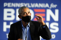 Former President Barack Obama speaks during a campaign event for Democratic presidential candidate former Vice President Joe Biden, Wednesday, Oct. 21, 2020, in Philadelphia. (AP Photo/ Matt Slocum)