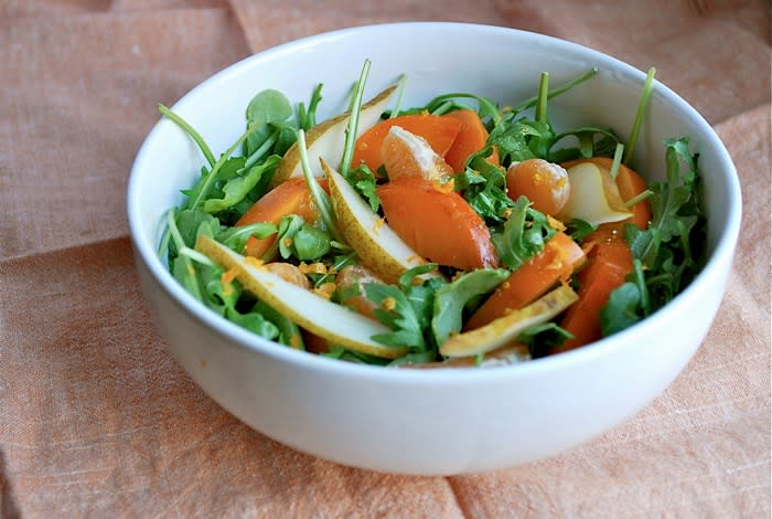 """<div class=""""caption-credit""""> Photo by: Brooklyn Supper</div><b>Persimmon and Clementine Salad <br></b> I love this gorgeous, fruit-laden salads with jewel toned fruits and fresh, bright vinaigrettes. This terrific persimmon, pear, and clementine salad is a good example featuring some of the season's best fruits. It makes a beautiful and delicious side dish for a nice dinner, but it's also a fantastic and healthy lunch. <br> <a href=""""http://www.babble.com/best-recipes/healthy-holiday-15-eye-catching-salad-recipes/#persimmon-and-clementine-salad"""" rel=""""nofollow noopener"""" target=""""_blank"""" data-ylk=""""slk:Get the recipe"""" class=""""link rapid-noclick-resp""""><i>Get the recipe</i></a>"""