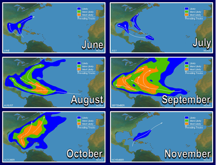 Maps showing U.S. areas most at hurricane risk during each month from June to November