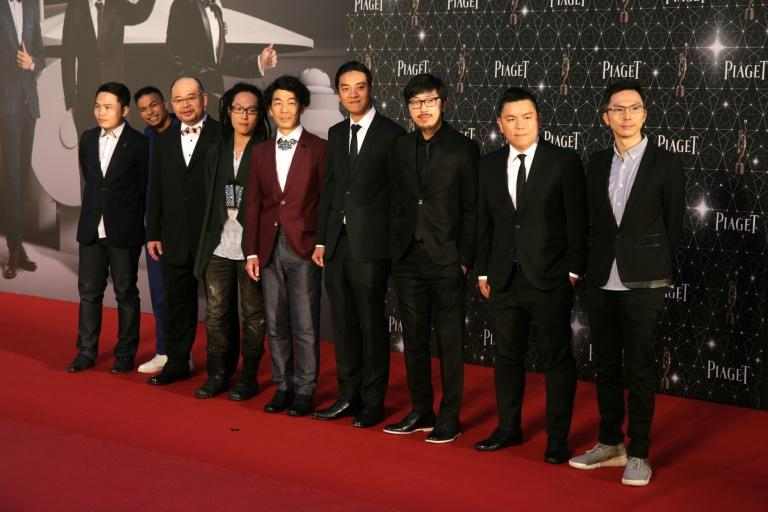 """Cast and crew from the controversial Hong Kong film """"Ten Years"""" at a red carpet event in the Chinese city in April, 2016"""