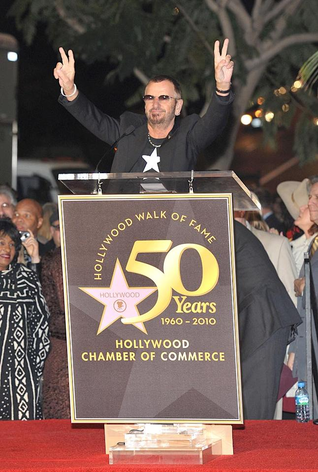 """Ringo Starr gets a star! The Beatles' drummer was honored with his very own star on the Hollywood Walk of Fame on Monday. Ringo's fans were out in full force for the ceremony that was also attended by Eric Idle and David Lynch. Dr. Billy Ingram/<a href=""""http://www.wireimage.com"""" target=""""new"""">WireImage.com</a> - February 8, 2010"""