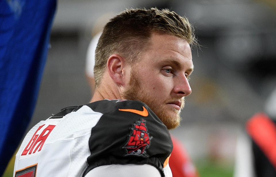 "Matt Gay, a fifth-round pick of the <a class=""link rapid-noclick-resp"" href=""/nfl/teams/tampa-bay/"" data-ylk=""slk:Tampa Bay Buccaneers"">Tampa Bay Buccaneers</a>, is the latest kicker draft pick to strike out with the team that selected him. (Photo by Justin Berl/Getty Images)"