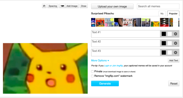 An image of Pikachu looking shocked