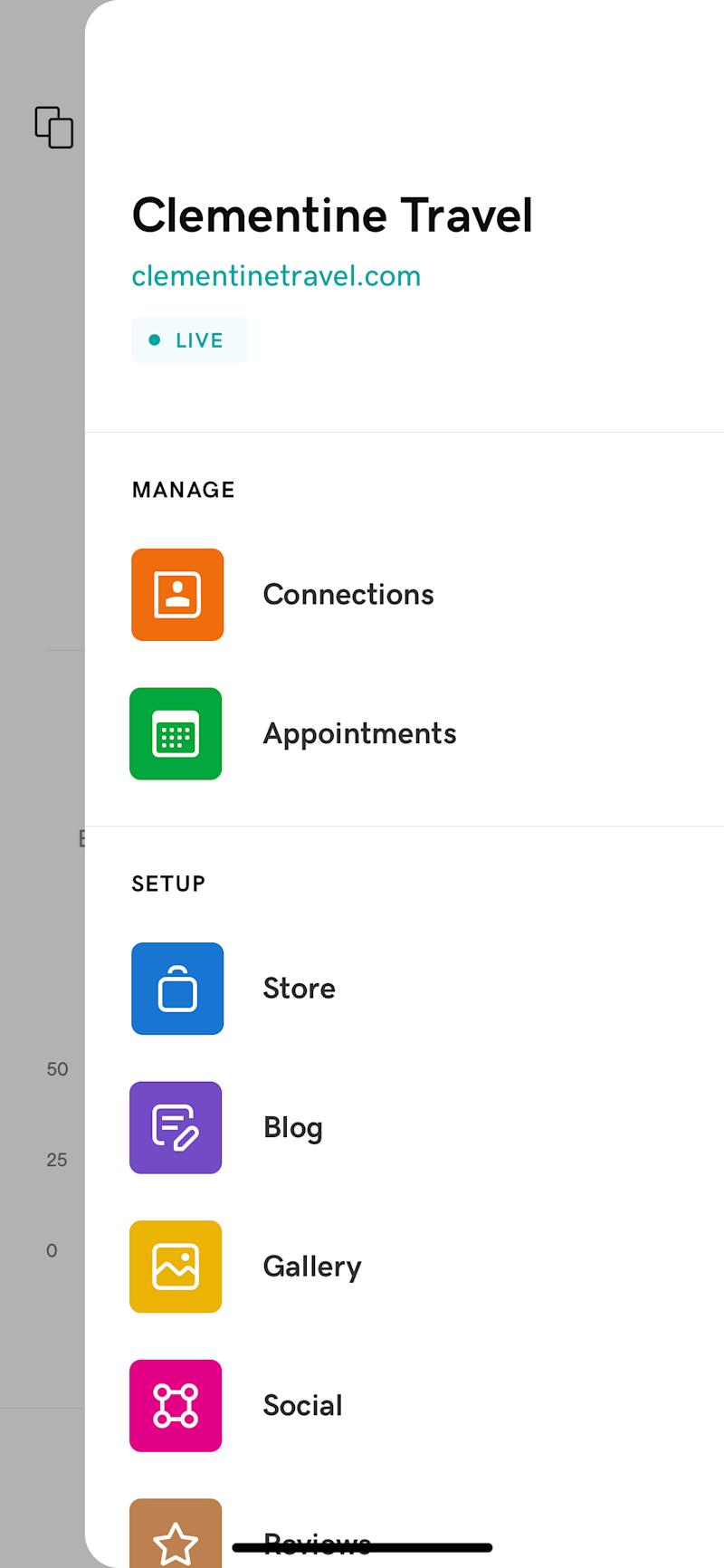 GoDaddy Websites + Marketing users can easily manage customers, appointments, email marketing, and shops in one dashboard.