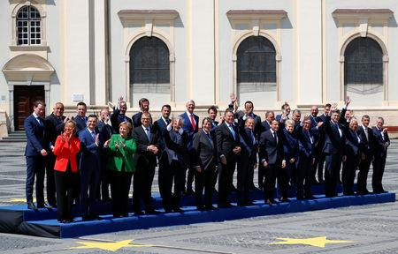 EU leaders pose for a family photo during the informal meeting of European Union leaders in Sibiu, Romania, May 9, 2019. REUTERS/Francois Lenoir
