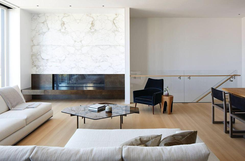 <p>A large marble slab on the wall will always make a statement. It's a great option for added texture that still exudes a formal, sophisticated aesthetic. </p>