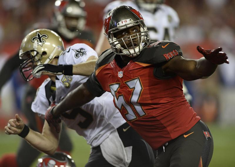 Tampa Bay Buccaneers defensive end Noah Spence (57) put on 35 pounds this offseason with a huge daily calorie intake. (AP)