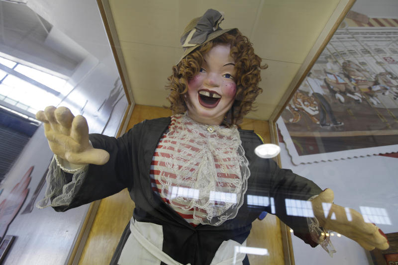In this photo taken Thursday, May 24, 2012, Laughing Sal is shown at the Musee Mecanique on Fisherman's Wharf in San Francisco. The shrieking and cackling sounds of the haunting figure can be heard throughout the musee. (AP Photo/Eric Risberg)