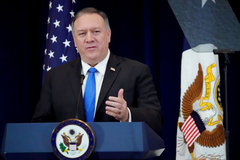 FILE PHOTO: U.S. Secretary of State Pompeo delivers remarks on human rights in Iran at the State Department in Washington