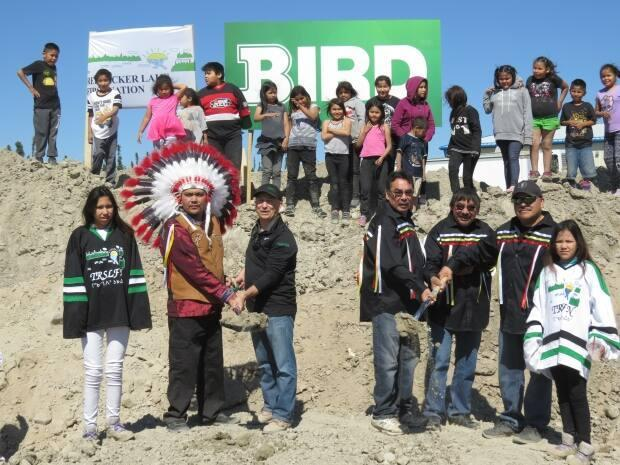 Members of the Red Sucker Lake First Nation celebrate the official sod turning for their recreation centre. (Jeff Provost/Bird Construction   - image credit)