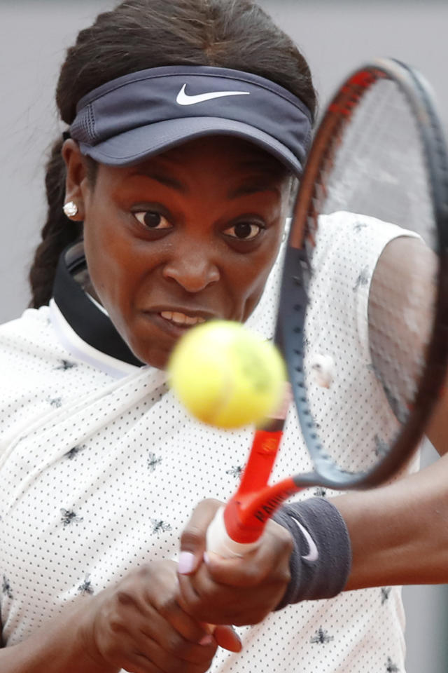 Sloane Stephens of the U.S. plays a shot against Japan's Misaki Doi during their first round match of the French Open tennis tournament at the Roland Garros stadium in Paris, Sunday, May 26, 2019. (AP Photo/Christophe Ena)