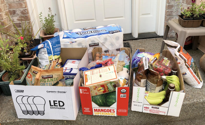 Grocery deliveries bring necessities like food and toilet paper to the front doors of immunocompromised older people who are avoiding shopping during the coronavirus pandemic. (Courtesy of Neel Jain)