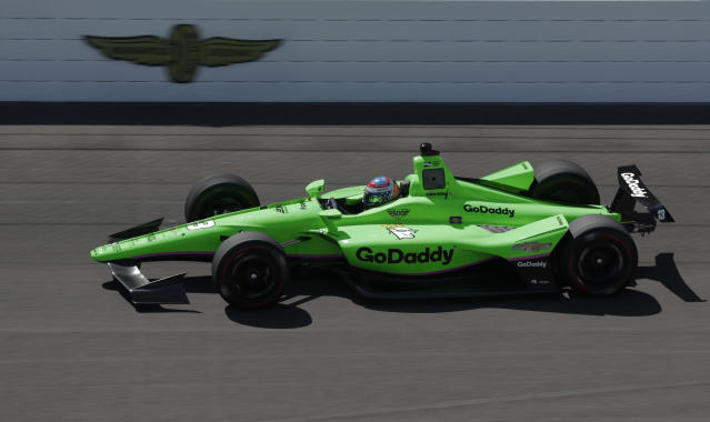 IndyCar driver Danica Patrick heads into the first turn as she taker her refresher test at the Indianapolis Motor Speedway in Indianapolis, Tuesday, May 1, 2018. (AP Photo/Michael Conroy)