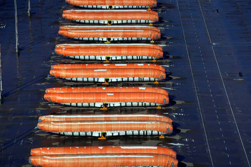 FILE PHOTO: Airplane fuselages bound for Boeing's 737 Max production facility sit in storage at their top supplier, Spirit AeroSystems Holdings Inc, in Wichita