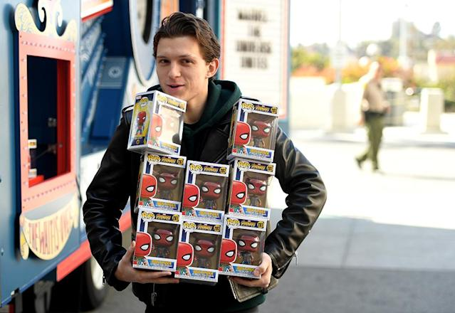 <p>The newest Spider Man was responsible for plenty of smiling faces on Thursday, as he repped Marvel's The Universe Unites at LAC+USC Medical Center in Los Angeles, Calif. The 21-year-old actor borrowed the Amazon Treasure Truck, and delivered the first of a $1 million toy donation from Funko to Starlight Children's Foundation, while visiting with some of the patients. (Photo: Matt Winkelmeyer/Getty Images for Disney) </p>