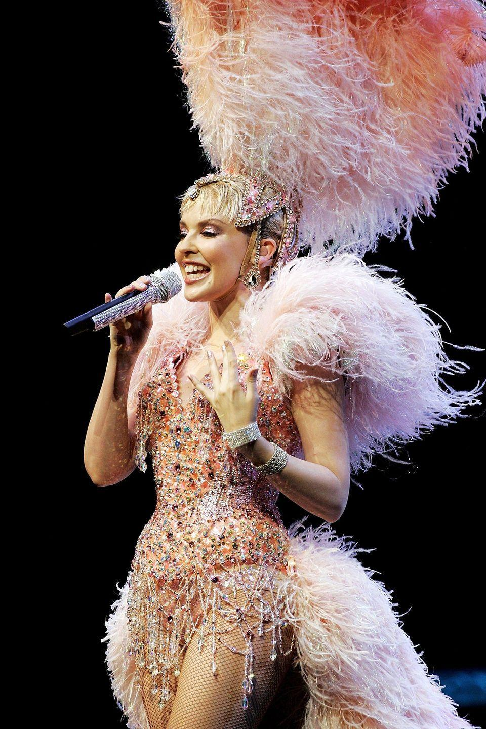 <p>On stage for the opening night of her Showgirl Homecoming tour in 2005.</p>