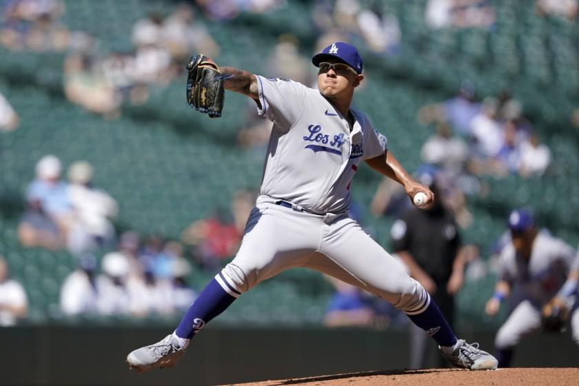 Los Angeles Dodgers starting pitcher Julio Urias throws against the Seattle Mariners.