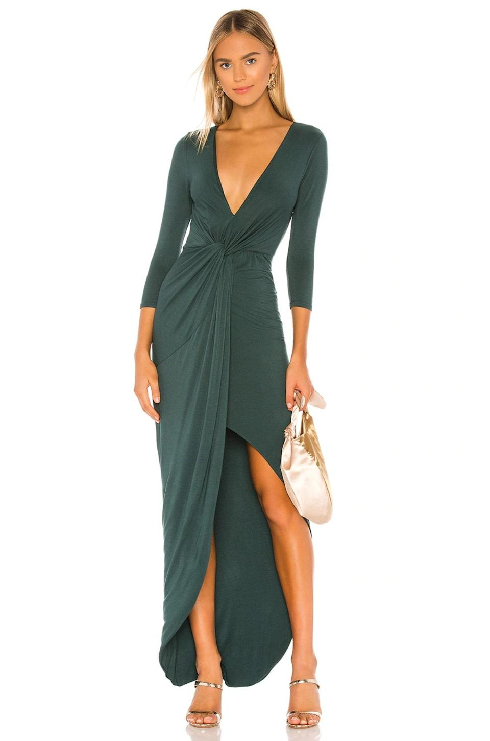 """Another reliable staple to have in your repertoire? A wear-anywhere maxi, like this jewel-tone wrap maxi dress with a high-low hem that's revealing in *all* the right places. $160, Revolve. <a href=""""https://www.revolve.com/lovers-friends-sundance-maxi-dress/dp/LOVF-WD2326/"""" rel=""""nofollow noopener"""" target=""""_blank"""" data-ylk=""""slk:Get it now!"""" class=""""link rapid-noclick-resp"""">Get it now!</a>"""