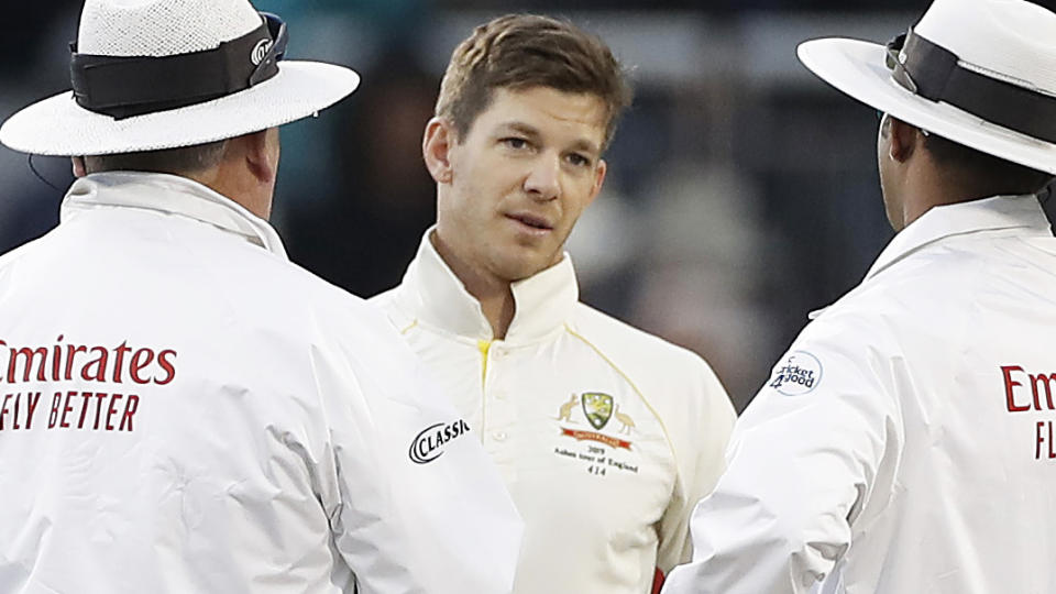 Tim Paine has openly criticised the DRS decision that cost him his wicket in Australia's second innings, saying he had spoken to match referees about it. (Photo by Ryan Pierse/Getty Images)