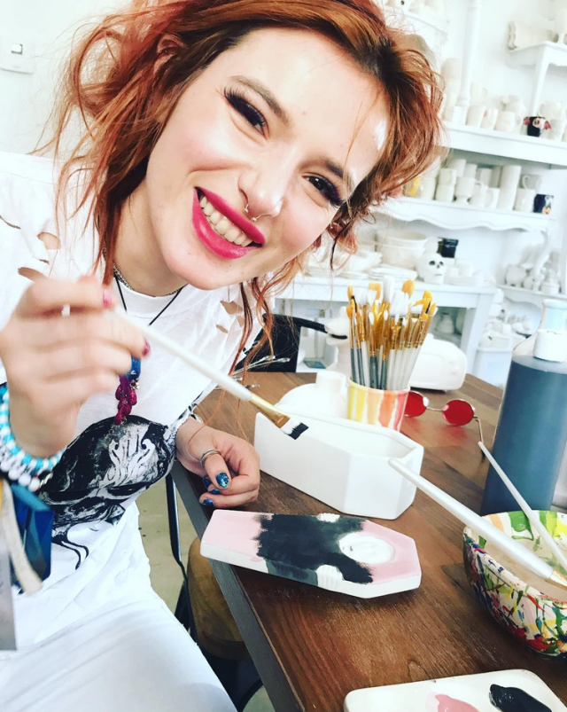 "<p>In a change of pace from her more racy instagrams, the actress channeled her creativity into some art. ""Take me painting and I'm happy as a clam,"" she wrote. (Photo: <a href=""https://www.instagram.com/p/BaHi88wFZmV/?taken-by=bellathorne"" rel=""nofollow noopener"" target=""_blank"" data-ylk=""slk:Bella Thorne via Instagram"" class=""link rapid-noclick-resp"">Bella Thorne via Instagram</a>) </p>"