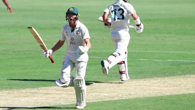 Australia's Marnus Labuschagne finally completes a century at his home ground on Day 1 after coming close a couple of times this series. AP