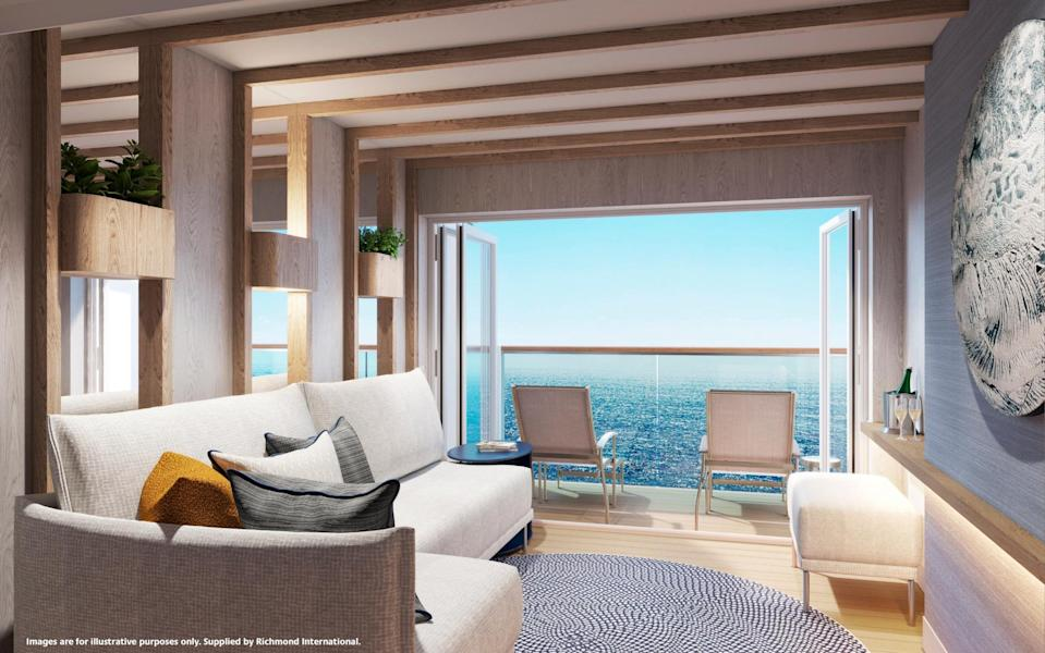 Some cabins feature an outdoor/in, conservatory-style space that connects the main room with the balcony. - P&O Cruises