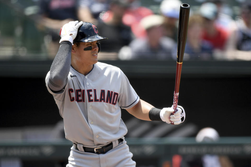 Cleveland Indians' Yu Chang at bat against the Baltimore Orioles during a baseball game, Sunday, June 6, 2021, in Baltimore. (AP Photo/Will Newton)