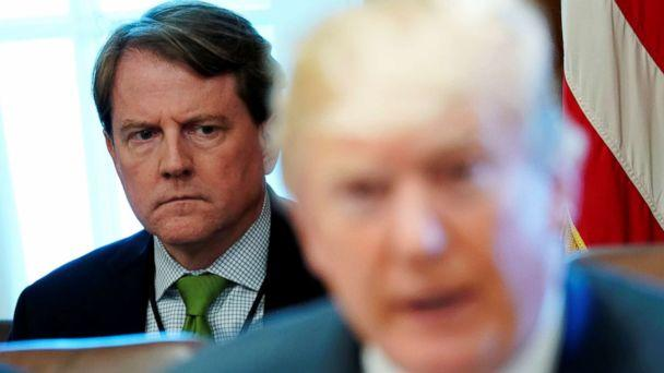 PHOTO: White House Counsel Don McGahn sits behind President Donald Trump as the president holds a cabinet meeting at the White House in Washington, D.C., June 21, 2018. (Jonathan Ernst/Reuters)