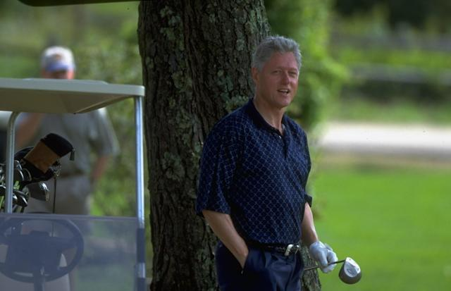 "<h1 class=""title"">Bill Clinton</h1> <div class=""caption""> Vactioning Pres. Bill Clinton playing golf. (Photo by Dirck Halstead/The LIFE Images Collection/Getty Images) </div> <cite class=""credit"">Dirck Halstead</cite>"